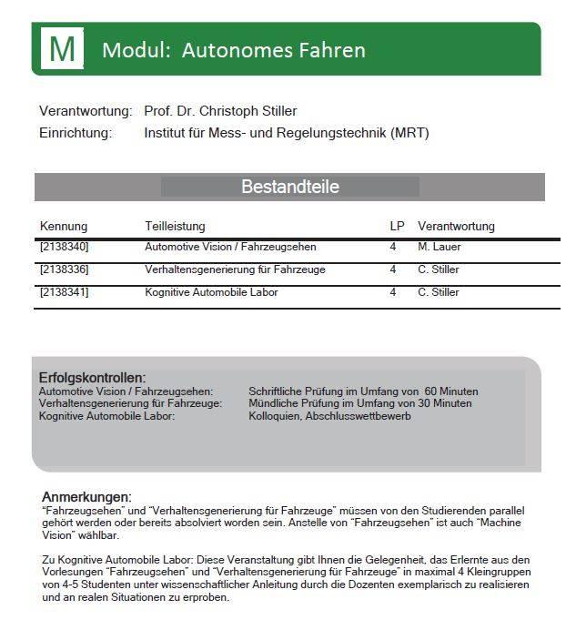 Modulhandbuch für APM ING